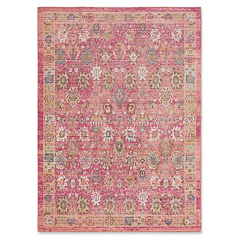 Surya dynine floral rug in bright pink bed bath beyond for Bright floral area rugs
