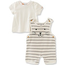 image of Absorba® 2-Piece French Terry Stripe Shortall and Shirt Set in Grey