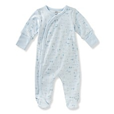 image of Absorba® Baby Print Footie in Blue