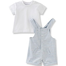 image of Absorba® 2-Piece Heathered Shortall and Shirt Set in Blue/White