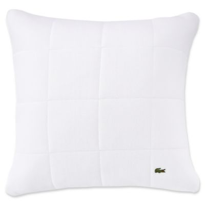 White Quilted Decorative Pillows : Lacoste Quilted Pique Square Throw Pillow in White - Bed Bath & Beyond