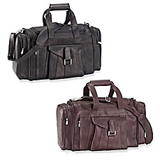 image of Piel® Leather Buckle Flap-Over 19.25-Inch Satchel Duffel Bag