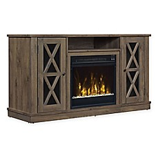 image of ClassicFlame® Bayport Electric Fireplace and TV Stand in Spanish Grey