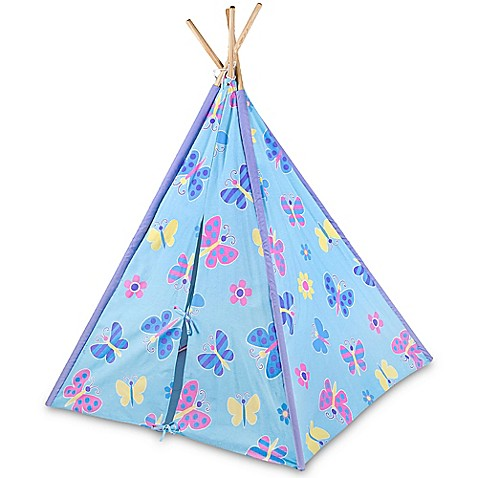 Olive Kids Butterfly Garden Canvas Teepee In Blue Bed Bath Beyond