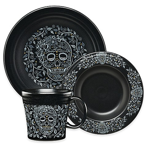 Fiesta 174 Skull And Vine Dinnerware Collection In Black