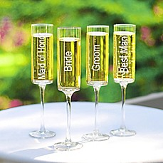 image of Cathy's Concepts Wedding Party Contemporary Champagne Flutes (Set of 4)