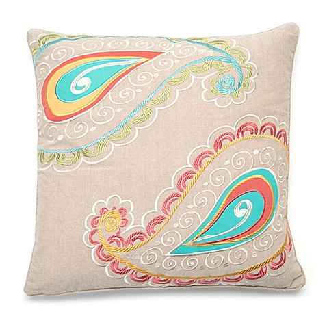 Levtex Home Araya Paisley Square Throw Pillow in Taupe - Bed Bath & Beyond
