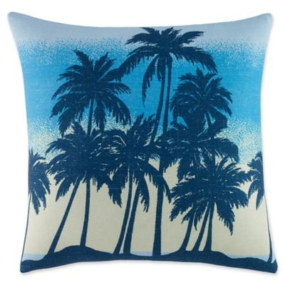 image of Original Penguin® Brody Square Palm Tree Throw Pillow in Bright Blue
