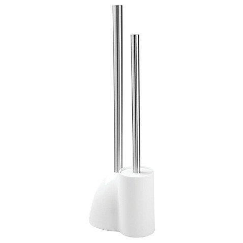 buy interdesign 3 piece toilet brush plunger and holder set in brushed stainless steel white. Black Bedroom Furniture Sets. Home Design Ideas
