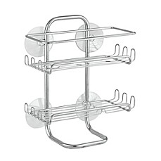 image of interdesign classic suction shelves medium shower caddy in silver