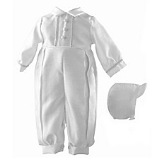 image of Lauren Madison Shantung Christening Coverall and Hat Set
