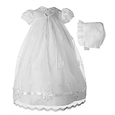 image of Lauren Madison Pearl-Trimmed Tulle Christening Dress and Headband Set