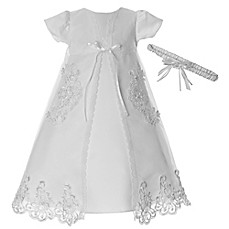 image of Lauren Madison 3-Piece Embroidered Organza Christening Dress Set