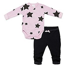 image of blue banana® Bold Star 2-Piece Long Sleeve Wrap Bodysuit and Pant Set