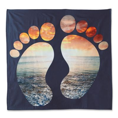 image of Hang Ten Woodgrain Sunset Feet Tapestry in Navy