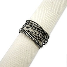 image of Twisted Wire Napkin Ring in Gun Metal