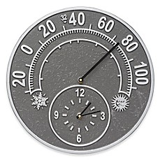 image of Whitehall Products Solstice Indoor/Outdoor Wall Clock and Thermometer in Pewter/Silver