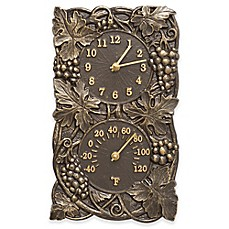 image of Whitehall Products Grapevine Indoor/Outdoor Wall Clock and Thermometer in French Bronze