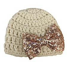 8eb4cba34c5 So  dorable Size 0-12M Crochet Hat with Rose Gold Sequin Bow