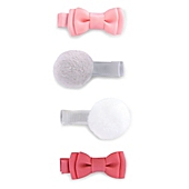 image of carter's® Size 0-6M 4-Pack Hair Clips with Bow & Pom Pom Detail in Pink/Ivory