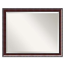 image of amanti country 31inch x 25inch large bathroom mirror in walnut - Large Bathroom Mirror