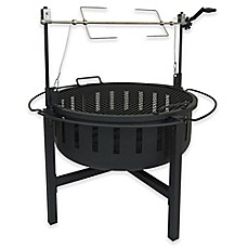 image of Landmann USA Fire Rock Fire Pit with Rotisserie & Grill in Black