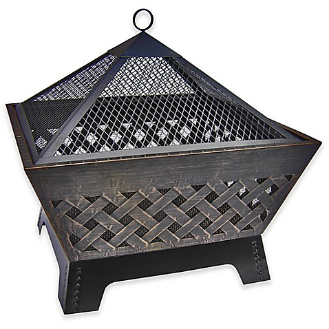 Landmann usa barrone crosshatch fire pit with cover in antique bronze bed bath beyond - Landmann barrone fire pit ...