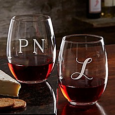 image of Classic Celebrations 21 oz. Stemless Wine Glass with Monogram