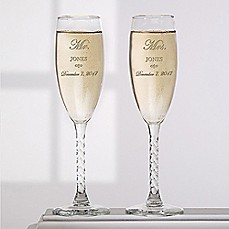 image of Mr. and Mrs. Collection Champagne Flutes (Set of 2)
