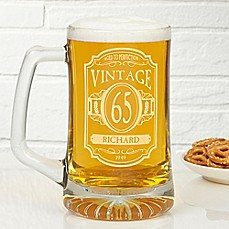 image of Vintage 25 oz. Deep Etched Beer Mug