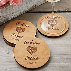 image of Rustic Wedding Party Favor Coaster