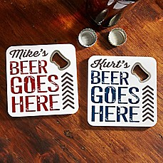 image of Beer Goes Here Bottle Opener Coaster
