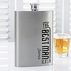 image of I Do Crew Groomsman Flask in Stainless Steel