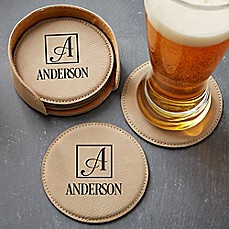 image of Square Monogram 5-Piece Leatherette Coaster Set in Tan
