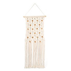 image of Hand-Knitted Wall Hanging with Wooden Beads  in Natural