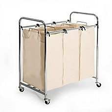 image of Seville Classics 3-Bag Heavy Duty Laundry Sorter Hamper Cart in Chrome