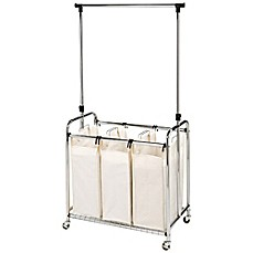 image of Seville Classics 3-Bag Laundry Sorter Hamper Cart with Hanging Bar in Natural