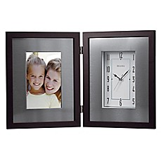 image of Bulova Metal Table Clock with 4-Inch x 6-Inch Picture Frame in Polished Silver