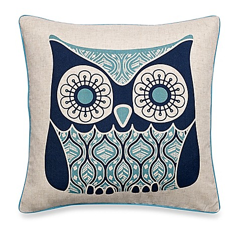 Owl Throw Pillow Covers : Make-Your-Own-Pillow Owls Night Square Throw Pillow Cover in Navy - Bed Bath & Beyond