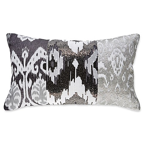 Callisto Home Ikat Rectangle Throw Pillow In Grey Bed