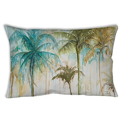 Watercolor Tropical Palms Oblong Indoor Outdoor Throw