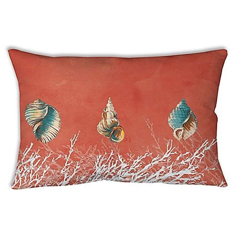 Manual Woodworkers Seashells Oblong Indoor/Outdoor Throw Pillow in Coral - Bed Bath & Beyond