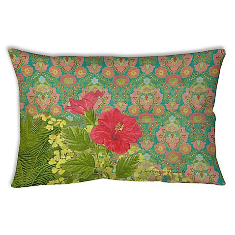Palm Beach Style Pillows : Palm Beach Hibiscus Oblong Indoor/Outdoor Throw Pillow - Bed Bath & Beyond
