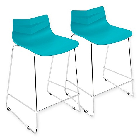 Buy Lumisource Arrow Counter Stool In Blue Set Of 2 From