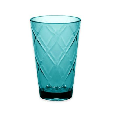 image of Certified International Diamond Iced Tea Glasses in Teal (Set of 8)
