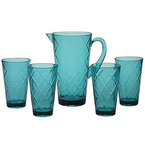 Certified International Diamond 5-Piece Pitcher Set in Teal