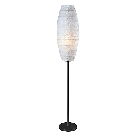 Kenroy Home Mcclure Floor Lamp In Black With White Paper