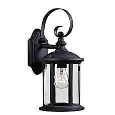 image of Kenroy Home Leo Outdoor 1-Light Wall Lantern in Black