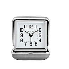 image of Bulova Traveler Clam Shell Travel Clock in Silver
