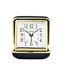 image of Bulova Adventurer Clam Shell Travel Clock in Gold/Black